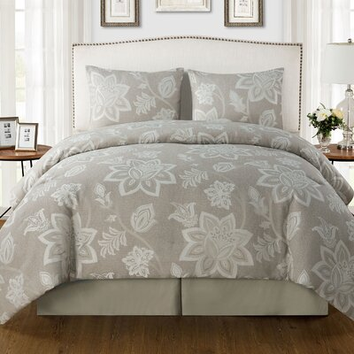 Eric 4 Piece Comforter Set Color: Taupe, Size: King