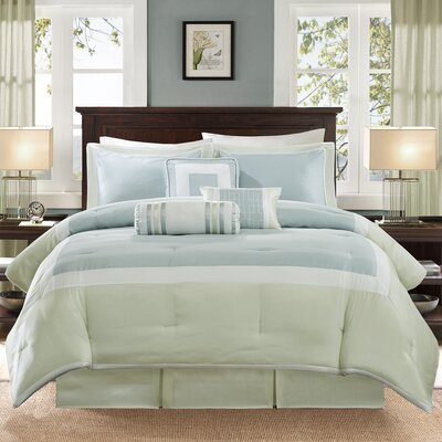Saint-Laurent 7 Piece Comforter Set Size: Cal King, Color: Aqua/Green