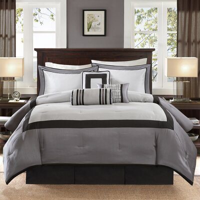 Saint-Laurent 7 Piece Comforter Set Size: Queen, Color: Black