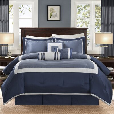 Saint-Laurent 7 Piece Comforter Set Size: Cal King, Color: Navy