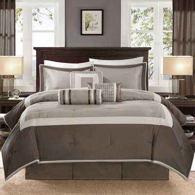 Saint-Laurent 7 Piece Comforter Set Size: Queen, Color: Tan