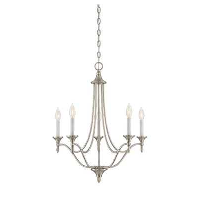 Thayer 5-Light Candle-Style Chandelier Finish: Satin Nickel