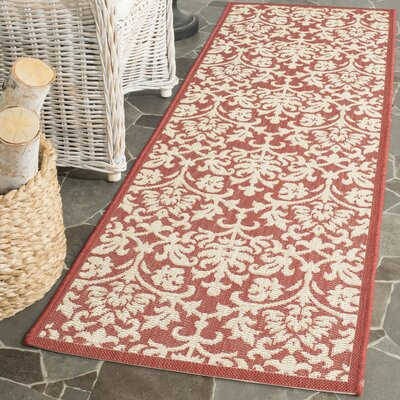 Bexton Hand-Woven Red/Natural Indoor/Outdoor Area Rug Rug Size: 67 x 96
