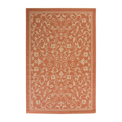 Bexton Persian Terracotta/Natural Indoor/Outdoor Area Rug Rug Size: 53 x 77