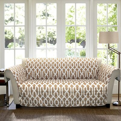 Caledonia Box Cushion Loveseat Slipcover Upholstery: Taupe