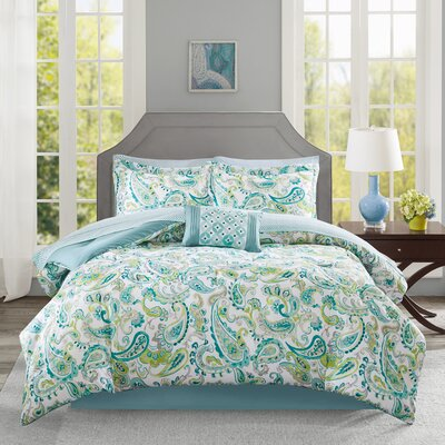 Dewart Comforter Set Size: Twin, Color: Aqua