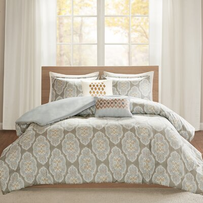 Gottberg 5 Piece Duvet Cover Set Size: Full/Queen, Color: Blue