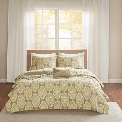 Gottberg Cotton 4 Piece Coverlet Set Size: Full/Queen, Color: Yellow