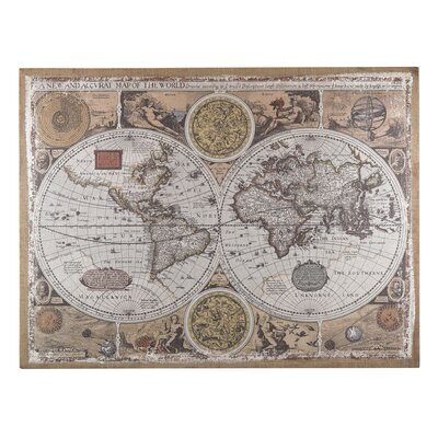 Antique Style World Map Graphic Art