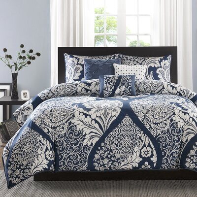 Goodwin 180 Thread Count 100% Cotton Duvet Set Size: Full / Queen, Color: Indigo