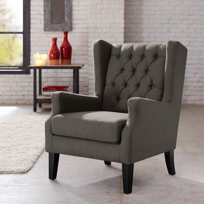 Allis Wingback Chair Upholstery: Charcoal