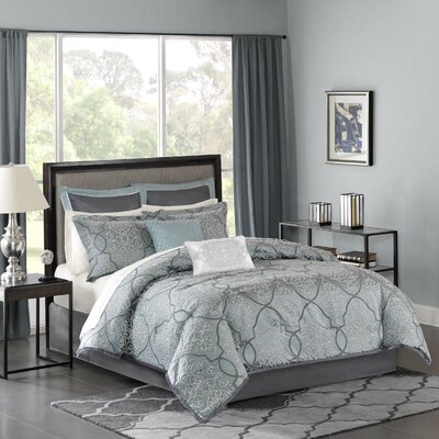 Dreiling 210 Thread Count Comforter Set Size: California King, Color: Blue
