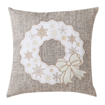 Christmas Wreath Embossed Decorative Holiday Throw Pillow