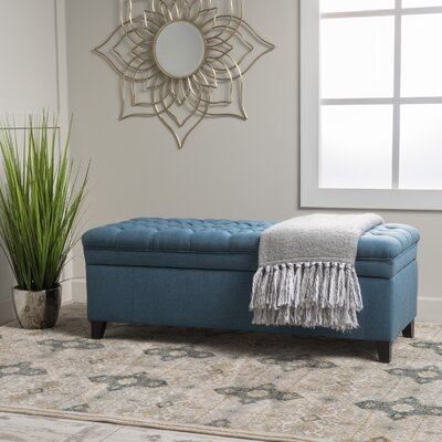 Logan Tufted Storage Ottoman Upholstery: Blue