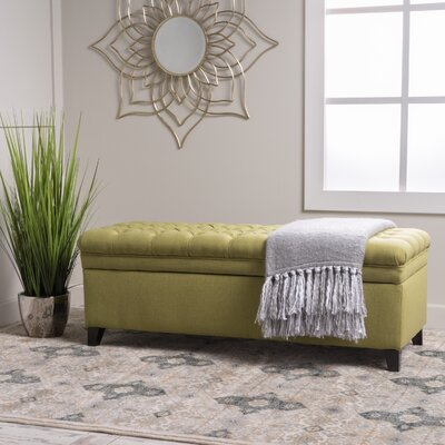 Logan Tufted Storage Ottoman Upholstery: Green