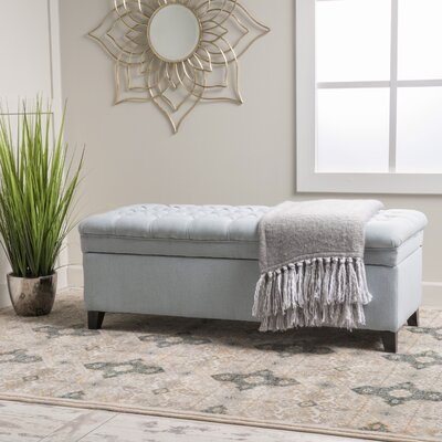Logan Tufted Storage Ottoman Upholstery: Light Sky