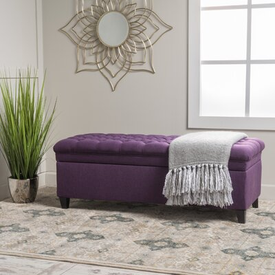 Logan Tufted Storage Ottoman Upholstery: Purple