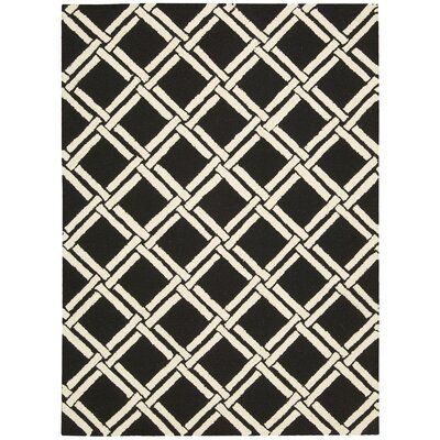 Hulings Hand-Knotted Black/White Area Rug Rug Size: Rectangle 76 x 96