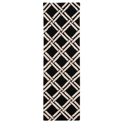 Hulings Hand-Knotted Black/White Area Rug Rug Size: Runner 23 x 76