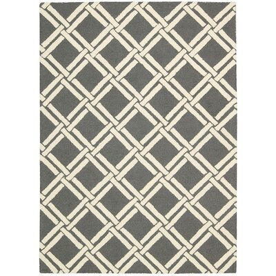 Hulings Hand-Knotted Gray/Ivory Area Rug Rug Size: 5 x 7
