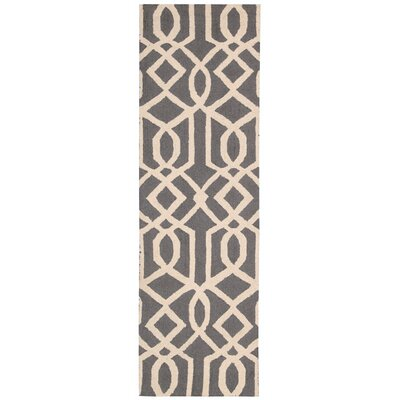 Hulings Hand-Knotted Gray/Ivory Area Rug Rug Size: Runner 23 x 76