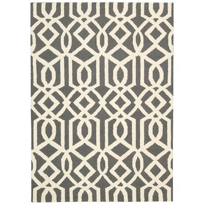 Hulings Hand-Knotted Gray/Ivory Area Rug Rug Size: 39 x 59
