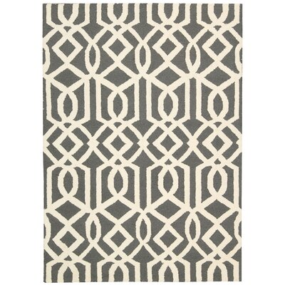 Hulings Hand-Knotted Gray/Ivory Area Rug Rug Size: 76 x 96