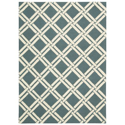 Hulings Hand-Knotted Teal/Ivory Area Rug Rug Size: 39 x 59
