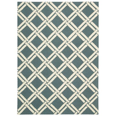 Hulings Hand-Knotted Teal/Ivory Area Rug Rug Size: 5 x 7