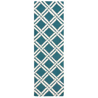 Hulings Hand-Knotted Teal/Ivory Area Rug Rug Size: Runner 23 x 76