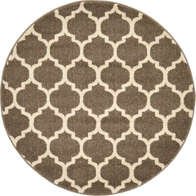 Moore Light Brown Area Rug Rug Size: Round 8'