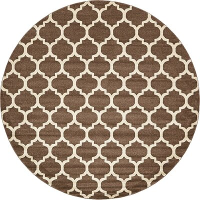 Emjay Light Brown Area Rug Rug Size: Round 10