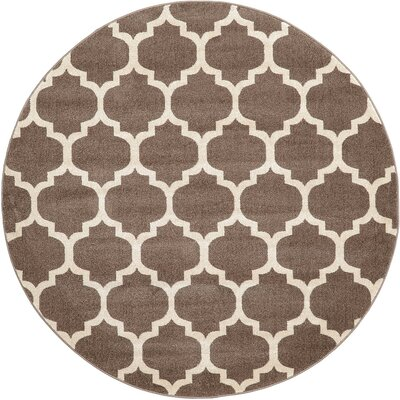 Emjay Light Brown Area Rug Rug Size: Round 6