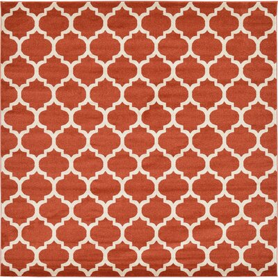 Emjay Light Terracotta Area Rug Rug Size: Square 10'