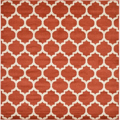 Emjay Light Terracotta Area Rug Rug Size: Square 8'