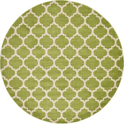 Moore Light Green Area Rug Rug Size: Round 10
