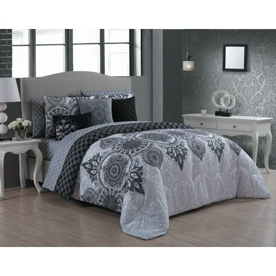 Houser 10 Piece Bed in a Bag Set Size: Queen, Color: Gray