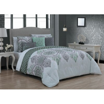 Houser 10 Piece Bed in a Bag Set Size: King, Color: Mint