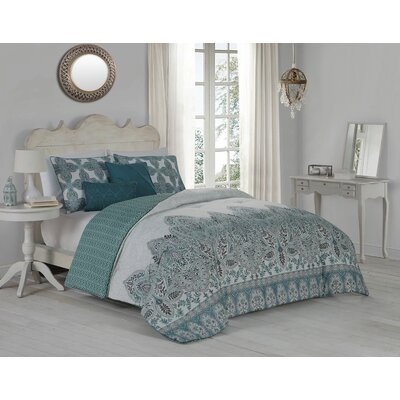 Huebert 5 Piece Comforter Set Size: Queen, Color: Blue