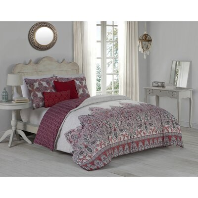 Huebert 5 Piece Comforter Set Size: King, Color: Red