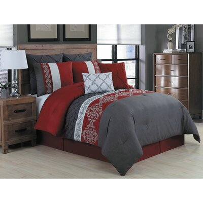 Inniss 8 Piece Comforter Set Size: King, Color: Red