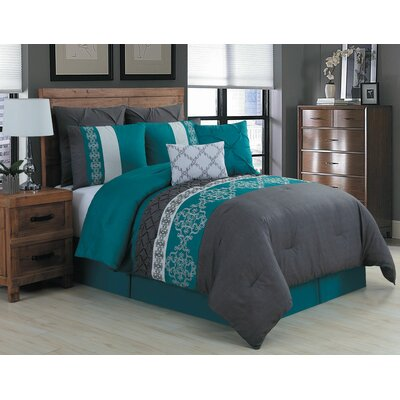 Inniss 8 Piece Comforter Set Size: King, Color: Teal