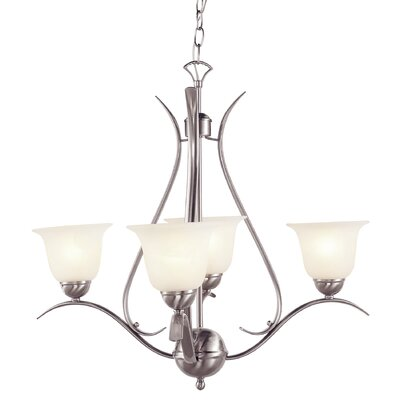 Lansford 4-Light Shaded Chandelier Finish: Nickel