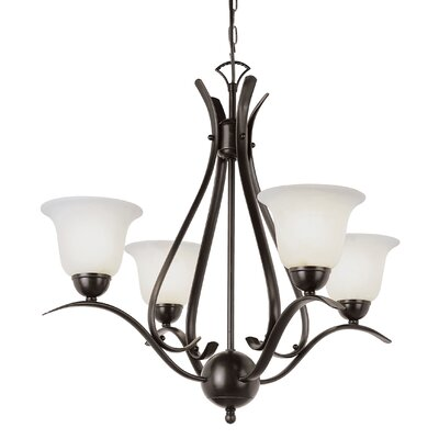 Lansford 4-Light Shaded Chandelier Finish: Bronze