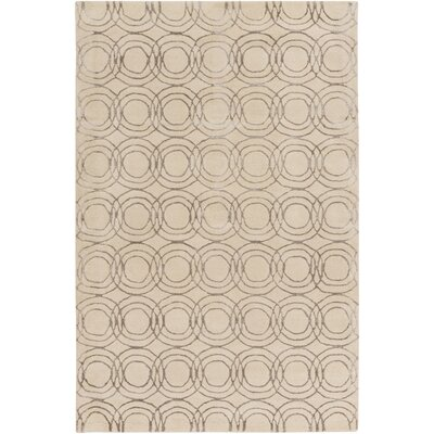 Meader Hand-Tufted Cream/Taupe Area Rug Rug size: 4 x 6