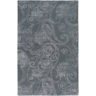 Laurita Hand-Tufted Medium Gray/White Area Rug Rug size: 5 x 8