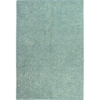 Garrettsville Hand-Tufted Teal Area Rug Rug Size: 36 x 56