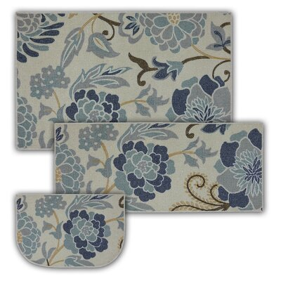 Thorson 3 Piece Power Flower Printed Kitchen Mat Set