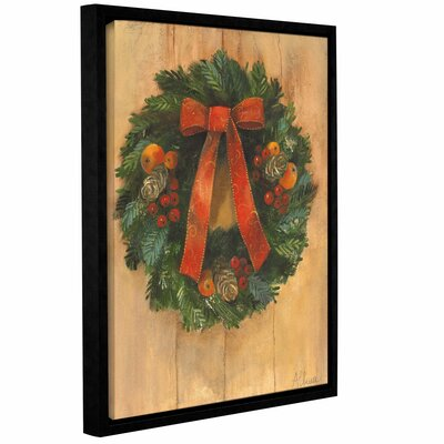 Holiday Wreath Framed Painting Print on Wrapped Canvas