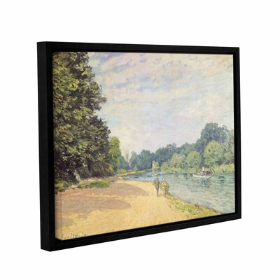 The Thames with Hampton Church, 1874 Framed Painting Print on Wrapped Canvas